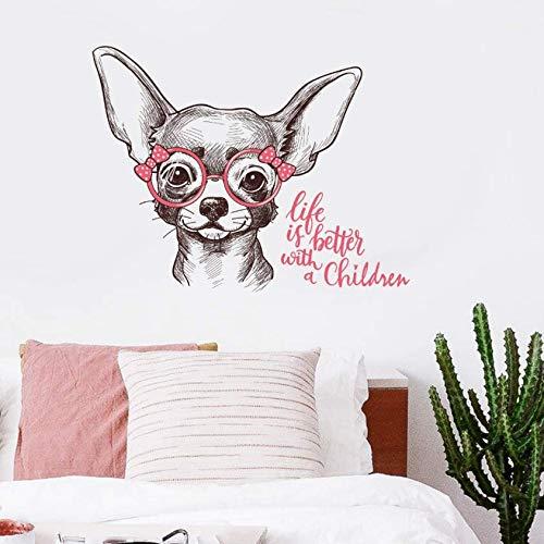 Luzhenyi Skizze Hund Trägt Brille Cartoon Wandaufkleber Kinderzimmer Baby Schlafzimmer Wohnzimmer Dekoration Selbstklebende Tier Aufkleber 50X60 Cm