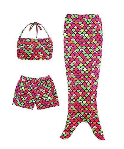 ReliBeauty Mädchen Badeanzug Bikini Set Swimsuit Bademode Prinzessin Meerjungfrau Kleid Kostüm Wassersport Badebekleidung, Schuppe&Mehrfarbig, 122 (Seaside Meerjungfrau Kostüme)