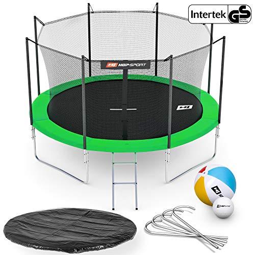 Hop-Sport Gartentrampolin Outdoor Trampolin 244, 305, 366, 430, 490 cm Komplettset inkl. Innennetz Leiter Wetterplane Bodenhaken grün (305 cm 4 Standbeine)