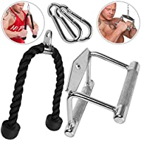 C.PSports Juego de cuerda para tríceps de 70 cm + mango paralelo de acero 14 cm + 2 mosquetones de 80 mm x 8 mm – ayuda para el entrenamiento de bíceps/tríceps, cable – antideslizante/cromado