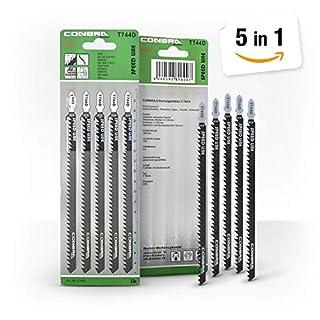 CONBRA ® Stichsägenblätter für Holz - 180mm Extra Lang - Schnitt ist grob & schnell - Blätter kompatibel mit Stichsäge von Makita, Bosch, Metabo - Hochwertige Sägeblätter - 5 Stück Stichsägeblätter
