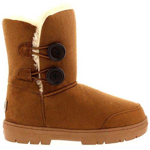 Womens Doppia Button Completamente allineato pelliccia invernale impermeabile Snow Boots - Tan - 6