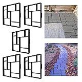 FROADP 5 Stück/Set DIY Schalungsform Betonpflaster Gießform Unregelmäßig Muster für Gehwegen Trittsteinen Garten(5 Stück/Set, Quadrat A - 8 Kammer)