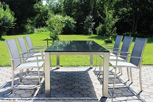 VEIKIN DESIGN Gartentisch 'Rio' 200 x 100 cm | Edelstahl mit Premium Granit rot | Naturstein...