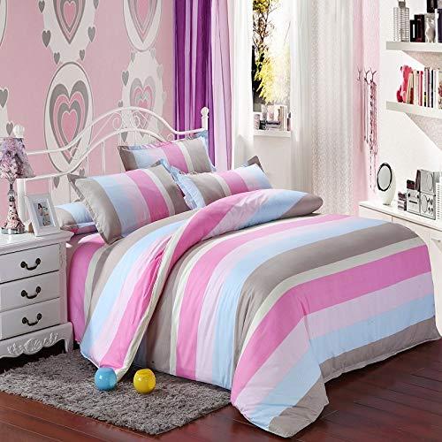 JSDJSUIT Bettwäsche gesetzt Einfacherosa blauen Streifen Print Bedding Set Bettbezug Bett Rock weiche Kissenbezug Einzelne Doppel Königin Twin Size-Queen 4 stücke (Zebra-print Und Bettwäsche Rosa)