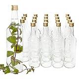 Van Well 20er Set Glasflaschen mit Schraubverschluss Venezia | befüllbare Flasche 1L für Likör, Schnaps & Bier
