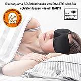 Premium DALATO 3D Schlafmaske, mit innovativer Form für komplette Dunkelheit und freies Bewegen der Augen, inklusive Beutel und Ohrstöpsel, DALATO Nachtmaske, DALATO Augenmaske für Damen und Herren für einen ruhigen und erholsamen Schlaf, - Schwarz
