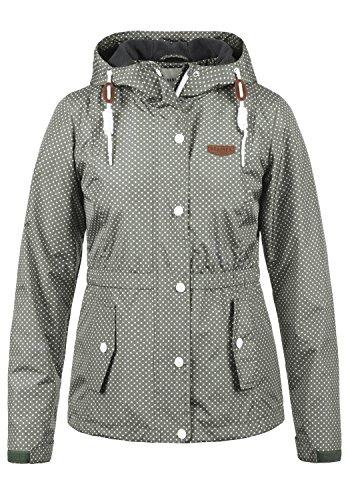DESIRES Toni Damen Windbreaker Übergangsjacke Regenjacke Mit Kapuze Und Punkte-Muster, Größe:XL, Farbe:Mid Grey (2842)