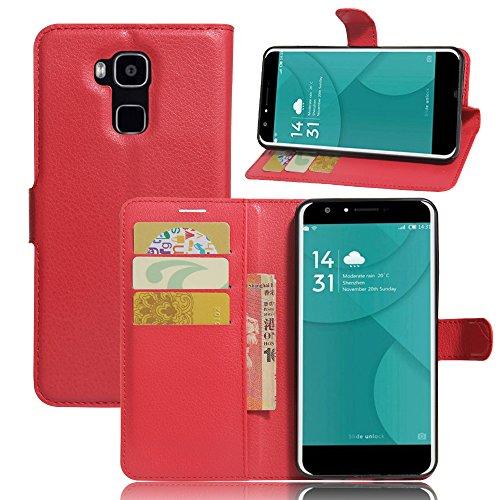 Doogee Y6/Doogee Y6C Handyhülle Book Case Doogee Y6/Doogee Y6C Hülle Klapphülle Tasche im Retro Wallet Design mit Praktischer Aufstellfunktion - Etui Rot