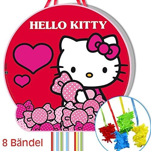 Zug-Pinata Hello Kitty Candies, 43cm, mit 8 Bändeln, für Pinata-Spiele