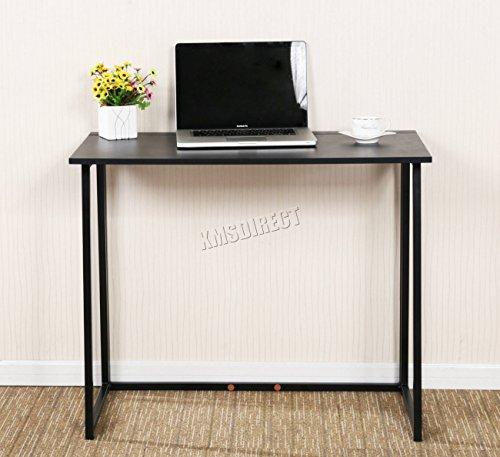 FoxHunter Foldable Computer Desk Folding Laptop PC Table Home Office Furniture Study Gaming Desktop Workstation FH-CD03 Black