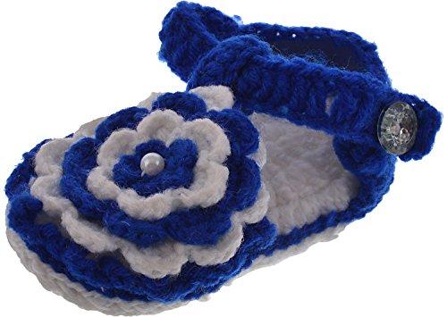 Cross Knitt 3 - 9 Months White and Blue Woolen Floral Sandal