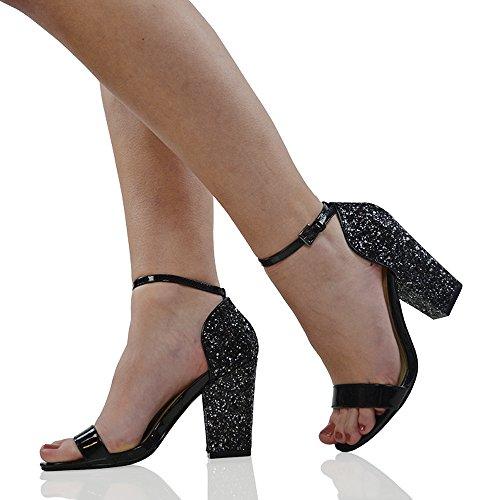 Essex Sandálias Sintéticos Patente Tornozelo Senhoras De Bloquear Tira Brilhantes Arte Sapatos Couro De No Salto Preto Glam AArIw