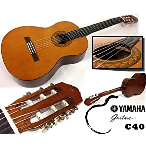 Yamaha C40 – Set per principianti con chitarra classica da concerto, accordatore sfq24 con schermo LED, custodia, tracolla e 3 plettri, set completo, ideale per principianti