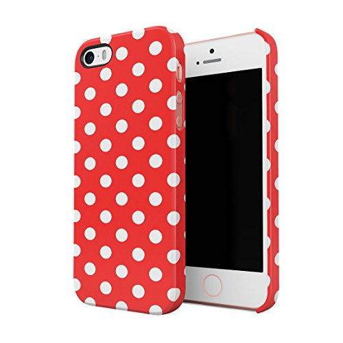 Baby Blue Polka Dots Pattern Custodia Posteriore Sottile In Plastica Rigida Cover Per iPhone 5 & iPhone 5s & iPhone SE Slim Fit Hard Case Cover Red Dots