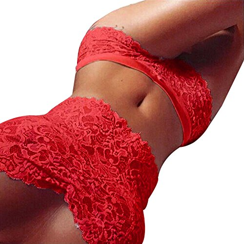 Btruely Sexy Dessous Damen Spitze Tube Top Slips Unterwäsche Set Club Underwear (M, Rot)