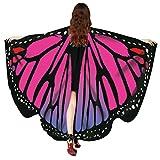 Overdose Frauen 197*125CM Weiche Gewebe Schmetterlings Flügel Schal feenhafte Damen Nymphe Pixie Halloween Cosplay Weihnachten Cosplay Kostüm Zusatz (168*135CM, D-Hot Pink-168*135CM)