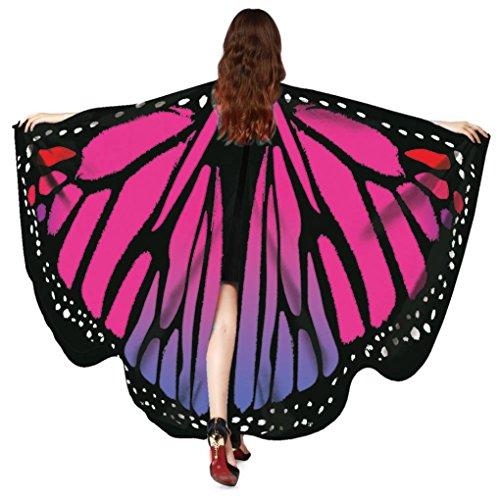 OVERDOSE Frauen 197 * 125CM Weiche Gewebe Schmetterlings Flügel Schal feenhafte Damen Nymphe Pixie Halloween Cosplay Weihnachten Cosplay Kostüm Zusatz Für Show (168 * 135CM, D-Hot Pink-168 * - Womens Butterfly Kostüm