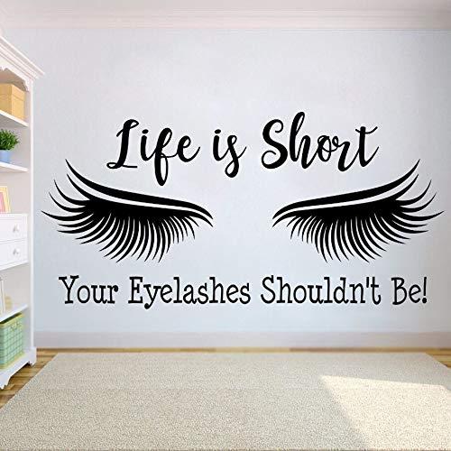 zxddzl Wimpernverlängerung Wandaufkleber Wimpern Quote Wall Vinyl Aufkleber Beauty Salon Decor Augen Make Up Abnehmbare Fenster Aufkleber AY1122-70x142cm