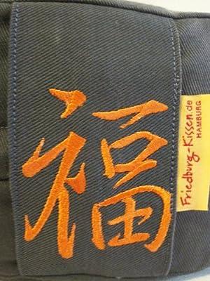 Friedburg-Kissen Yogakissen mit Bezug und Stickerei (Glück), Bio-Buchweizenschalen 30x12cm von Friedburg-Kissen