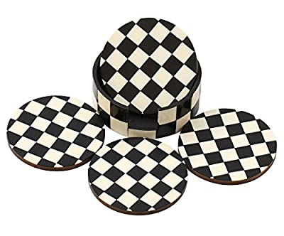 Chess Board Pattren Drink Coasters - Handmade Retro Wood Coaster Set with 4 Round Table Coasters and Decorative Wooden Holder for Bar/Office/Home - Table Top & Kitchen Dining Accessories