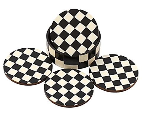 SouvNear Chess Board Pattern Drink Coasters 10.4 cm - Handmade Retro Wood Coaster Set with 4 Round Table Wooden Holder