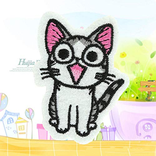Embroidered Iron - Cute Cat Shape Diy Motif Applique Cartoon Embroidered Iron On Patches Sequins Clothing - Fabric Embroidered Girls White Iron-on Numbers Clothing Patches Marvel Letters F - Reverse-flag-patch