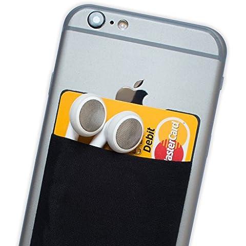 Atkolé Wallet - Funda-Cartera Adhesiva (con pegamento) para Celular con cinta adhesiva (Negra) de 3M. Un accesorio indispensable para celulares, un tarjetero y soporte para auriculares