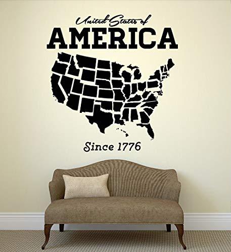 jiuyaomai USA USA Karte Wandaufkleber Wohnkultur Wohnzimmer Selbstklebende PVC Wandtattoo Amerika Schlafsofa Hintergrund Dekorieren 74x78 cm