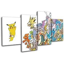 Bold Bloc Design - Pokemon Pikachu GO Anime For Kids Room 120x68cm MULTI Boite de tirage d'Art toile encadree photo Wall Hanging - a la main dans le UK - encadre et pret a accrocher - Canvas Art Print