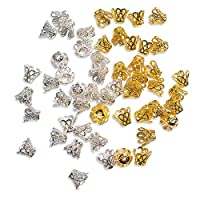TOAOB 600pcs Silver and Gold Colour 8x6.5mm Filigree Flower Cup Shaped Bead Caps Jewellery Findings