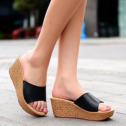 ZYUSHIZ Ding ziehen Frau Hausschuhe Sandalen Strand Outdoor der minimalistischen Stil Koreanische Version Schwarz