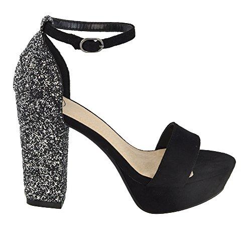 ESSEX GLAM Scarpa Donna Finto Scamosciato Sandalo Peep Toe Glitter Cinturino alla Caviglia Tacco Plateau Festa Nero Finto Scamosciato