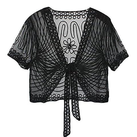 Women's Ladies Girls Short Sleeved Lace Mesh Gauze Crochet Knitted Embroidered Cropped Crop Bolero Shrug Waistcoat Cardigan Jacket Top Shawl Wrap Wedding Party Evening Prom Wear (XL, Black)