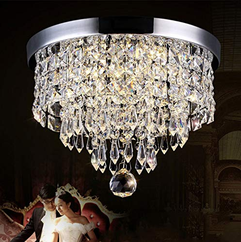 Crystal Chandeliers Light Modern Decor Flush Mount Fixture With Crystal Ceiling Lamp For Hallway, Bar, Kitchen, Dining room,25cm,wam white - Crystal Ceiling Mount