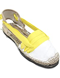 Espardenya.cat Alpargatas Tradicionales Planas Suela de Goma Diseño Tres Vetas o Tabernero Color Amarillo