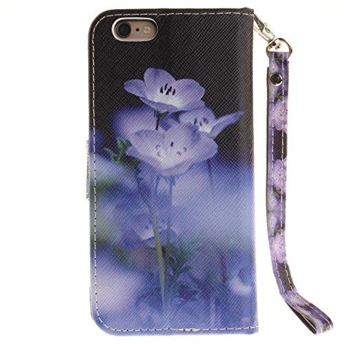 iPhone 6S Plus Coque, iPhone 6 Plus Coque, Lifeturt [ Une fleur ] Motif Pure Couleur Housse en Cuir Case à Avec La Fonction Stand Coque de Intérieure Protection Souple Coque Portefeuille TPU Silicone  E2-Fleurs bleues