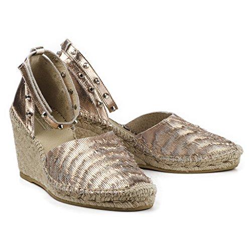 Buffalo Damen Schuhe 2693 Wedges Keilabsatz Espadrilles Leder Nieten Rosa (Rose)
