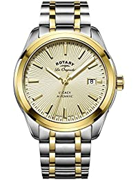 Rotary Men's Automatic Watch with Yellow Dial Analogue Display and Two Tone Stainless Steel Bracelet GB90166/03