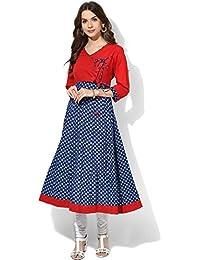 Royal Export Women's Blue & Red Crepe Printed Kurta