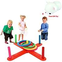 Rcool Baby Kid Hoop Ring Toss Plastic Ring Toss Quoits Garden Game Pool Toy Indoor&Outdoor Pegs&Ropes Hoopla Family Fun Game Toy Educational Puzzle Toy Child Gift
