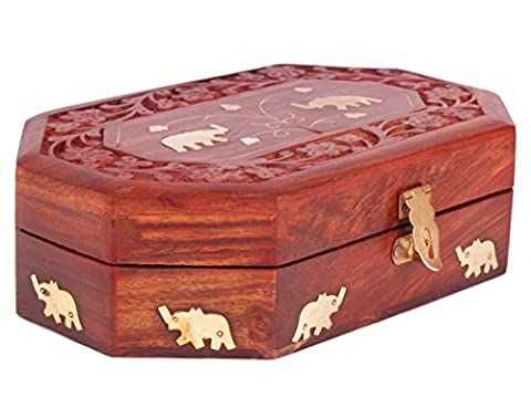 Diwali Gifts Majestic Wooden Jewellery Keepsake Storage Box Organiser Hand Carved Chest with Elephant Brass Inlay