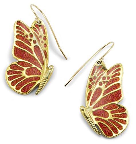 Boucles d'Oreille Papillon Pendantes - Bijoux en Argent fin Plaqué Or et Fimo Corail