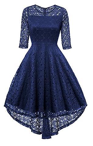 Gigileer Vintage Damen Spitze Frack Abendkleider Cocktailkleid Ballkleider festlich Kleid (L(DE 40-42), Navy)