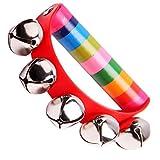 Metal Musikinstrument Tamburin Rasseln Handglocken Baby Kinder Holz Spielzeug Hand Glocken Mit Glocken Zufällige Farbe-1PC