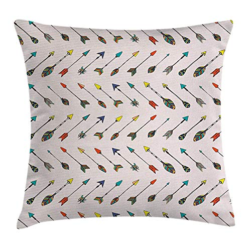 BUZRL Arrows Throw Pillow Cushion Cover, Arrows Vibrant Colors Arrowheads Arrowtails Pattern Decorative Art, Decorative Square Accent Pillow Case, 18 X 18 inches, Orange Yellow Turquoise (Toile Boudoir)