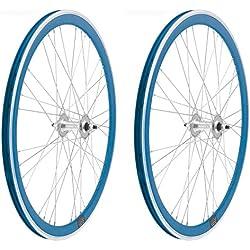 2x Llanta Rueda para Bicicleta Fixed Fixied de 700 Aluminio CNC MECANIZADO Piñon Fijo Color AZUL 3750azul