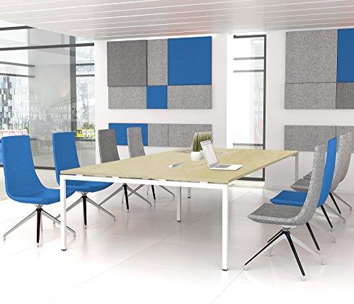 NOVA Konferenztisch 320x164cm Ahorn mit ELEKTRIFIZIERUNG Besprechungstisch Tisch, Gestellfarbe:Weiß