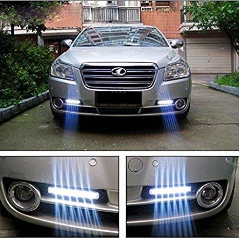 Preisvergleich Produktbild dingdangbell 2pcs Auto Tagfahrlicht 8 LED DRL Tageslicht Head Lampe Super Weiß 12 V DC