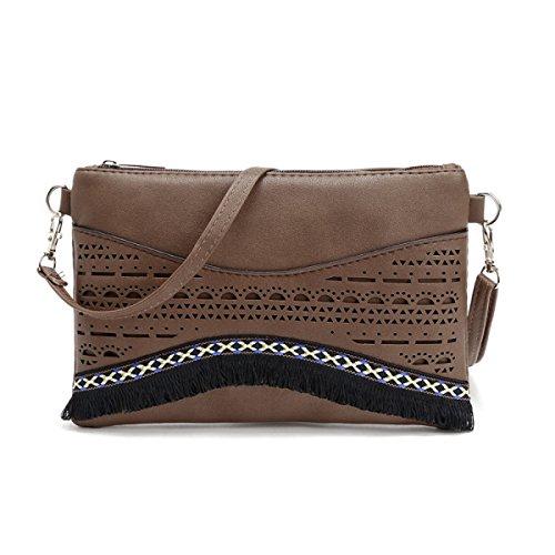 QPALZM Frau Beiläufige Quaste Kleine Quadratische Tasche Schulter Schräge Kreuzhandtasche Reißverschluss Schließen A3